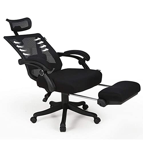 Hbada Reclining Office Desk Chair Adjustable High Back Ergonomic Computer Mesh Recliner Home Office Chairs With Footrest And Lumbar Support Black Buy Products Online With Ubuy New Zealand In