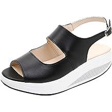 4dba6aa8d JJHAEVDY Women's Open Toe Flatform Wedge Sandals Cutout Slingback Ankle  Strap Buckle