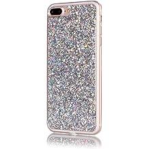 Moonmini iPhone 7 Plus 2 in 1 Hybrid Dual Layer Soft TPU Inner Bumper Protective Sparkle Shiny Bling Glitter Shine Cover Hexagonal Star Pattern .