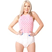 908ce6eda94c ABDL ASC Adult Baby Diaper Lover Polka Dot Adult Onesie Baby Romper, Pink