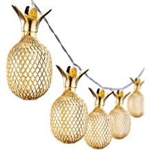 Omika Gold Metal Mesh Pineapple Lantern String Lights 6 5ft 10 Led Usb Plug Battery Powered Novelty Fairy Lights For Bedroom Wedding Birthday Party Pineapple Decor Warm White Buy Products Online With